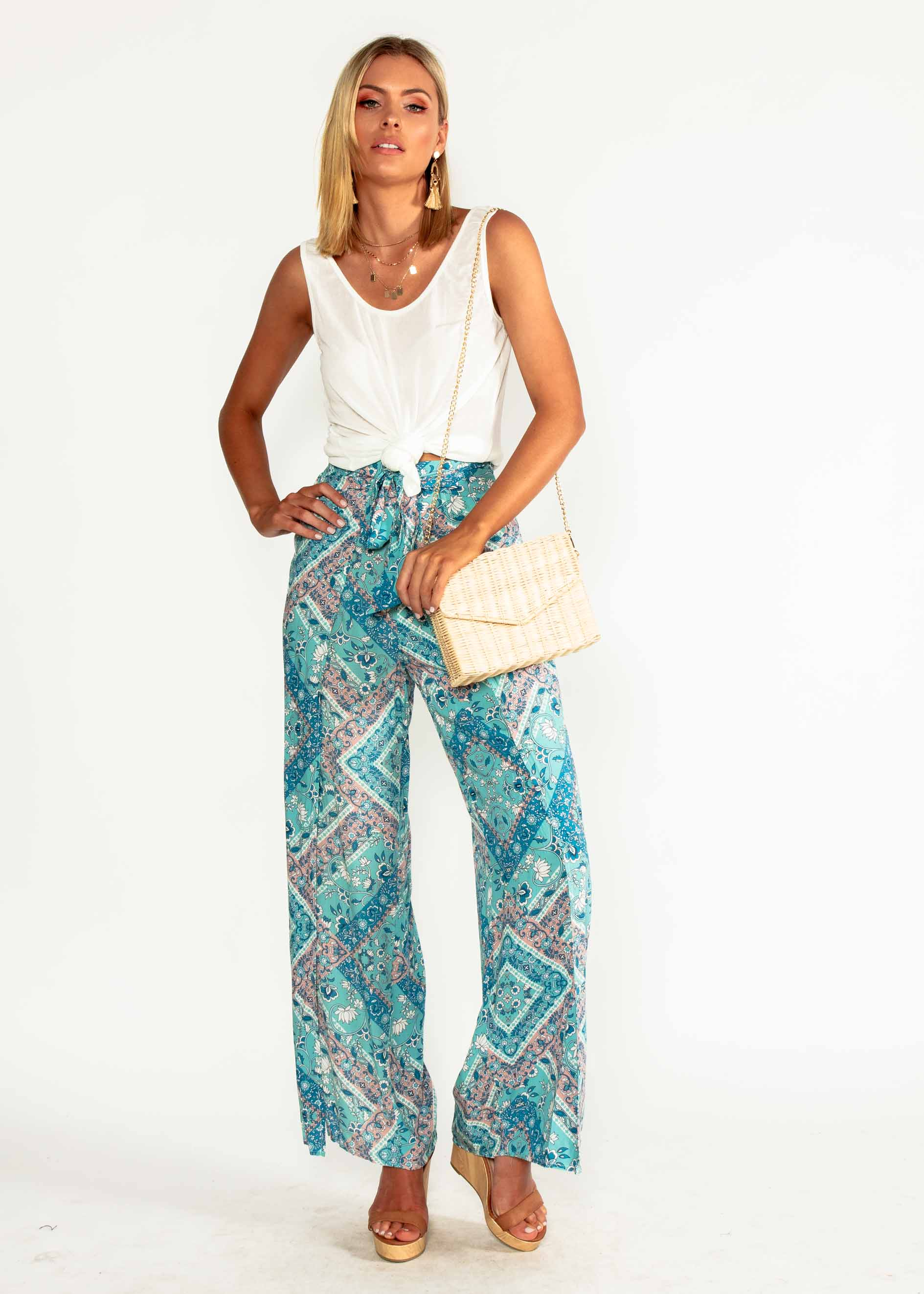 This Feeling Pants - Mint Paisley