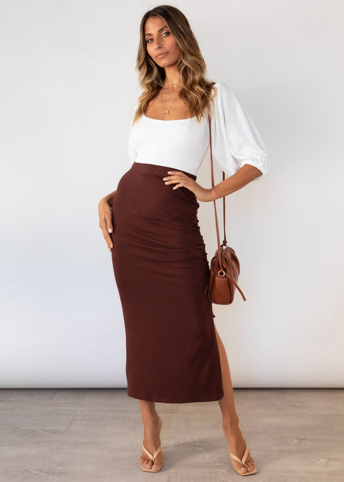 Harna Midi Skirt - Chocolate