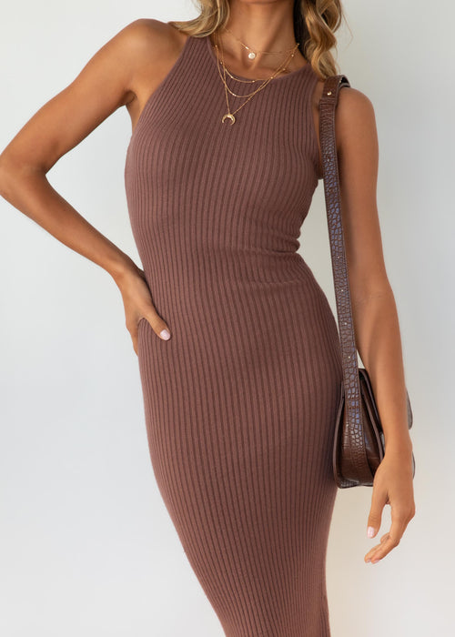 Jumelle Knit Midi Dress - Chocolate