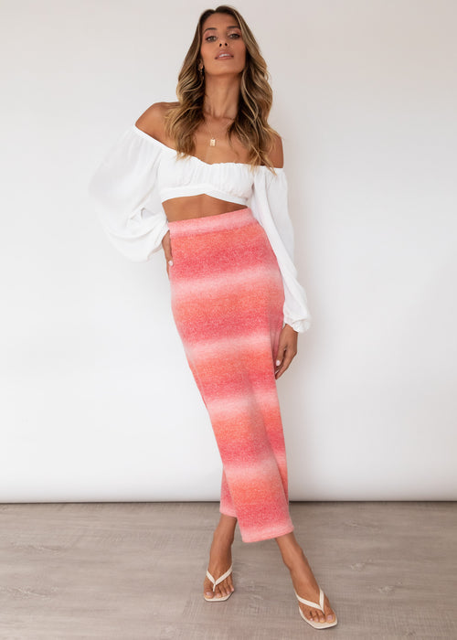 Lavish Knit Maxi Skirt - Watermelon