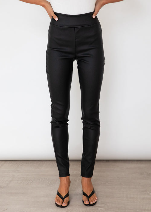 Celeste Leather Look Pants - Black
