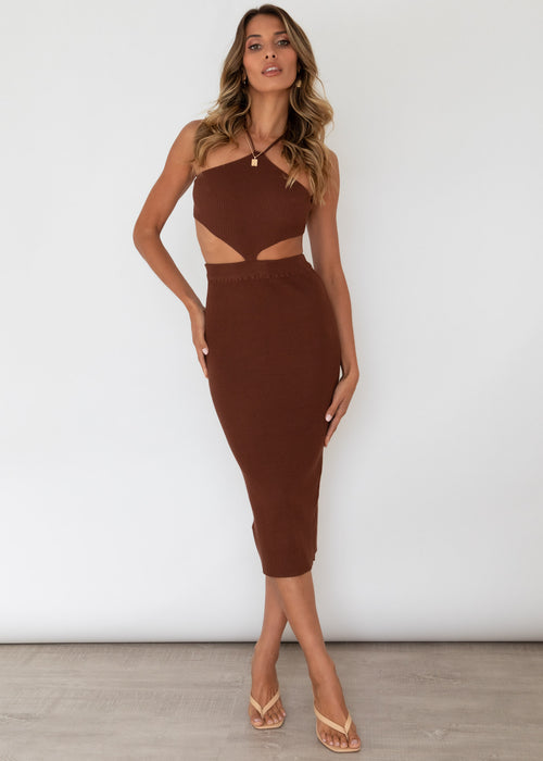 Alyce Knit Midi Dress - Chocolate