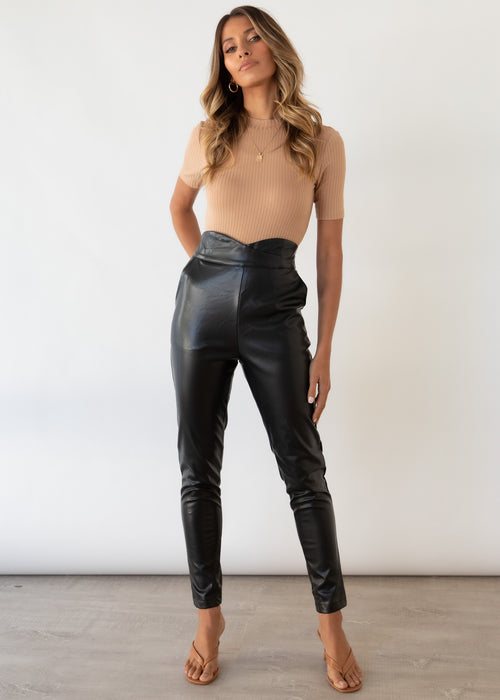 Slater Leather Look Pants - Black