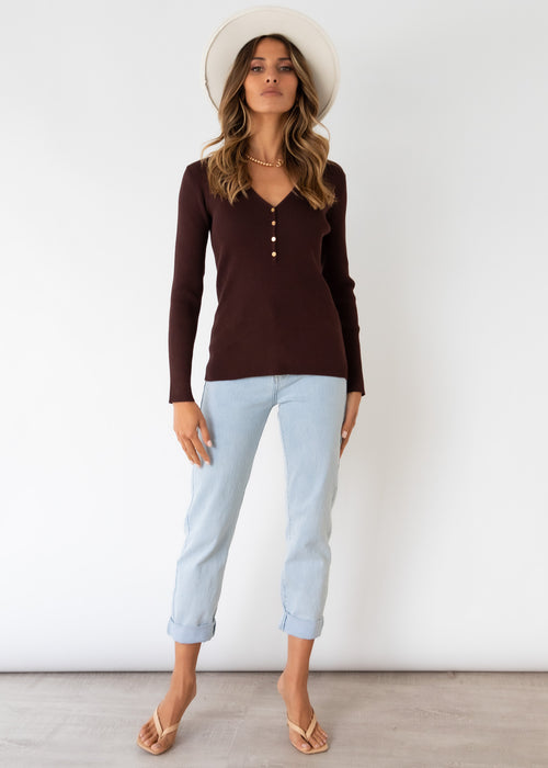 Melina Knit Top - Chocolate