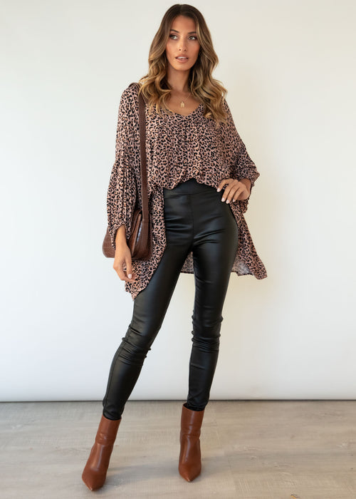 Edge Of Midnight Blouse - Tan Leopard