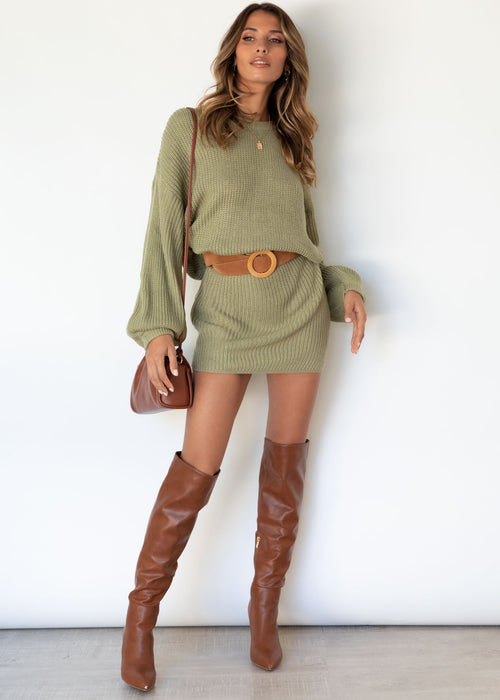 Bahamas Knit Dress - Olive