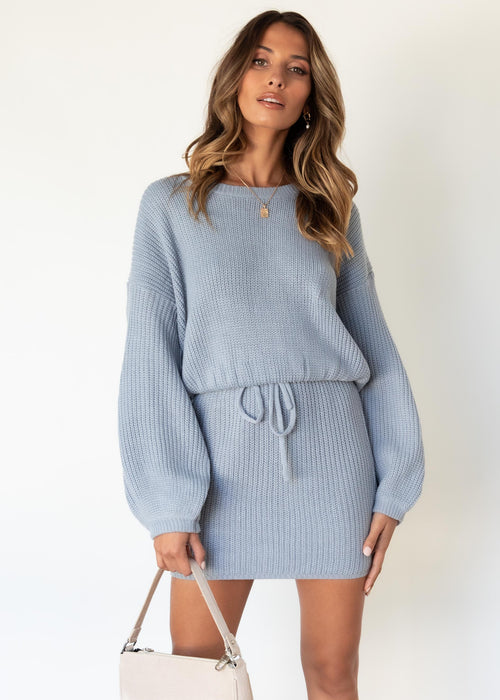 Bahamas Knit Dress - Steel Blue