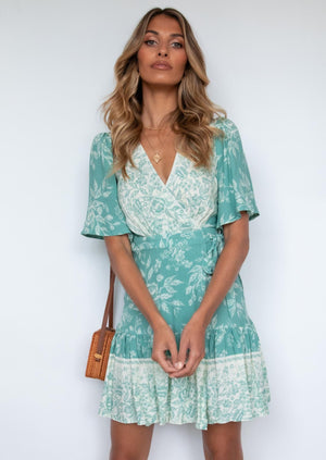Compromises Wrap Dress - Sage Floral