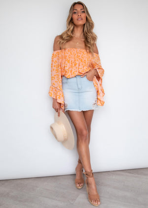 Sugar Night Off Shoulder Top - Tangerine Leopard