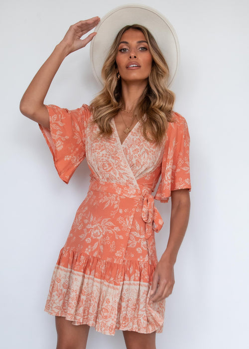 Compromises Wrap Dress - Rust Floral