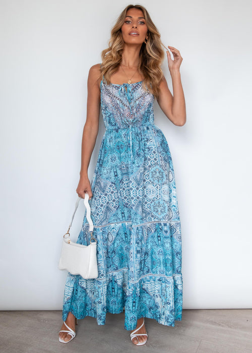 Meet You There Maxi Dress - Cobalt Summer