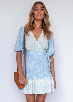 Compromises Wrap Dress - Blue Floral