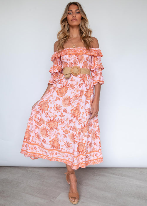 Better Together Midi Dress - Coral Garden
