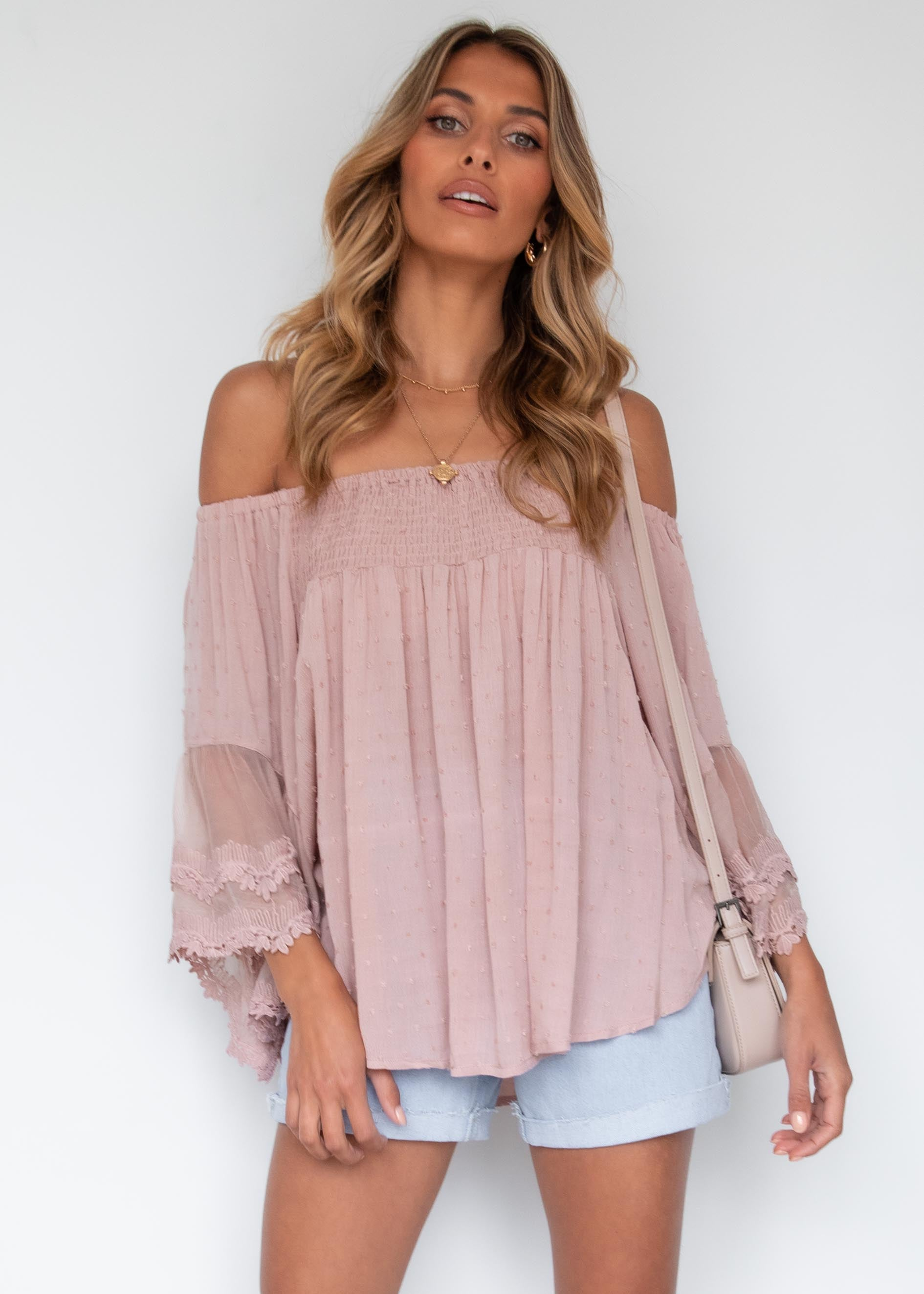 Horizons Off Shoulder Blouse - Mocha