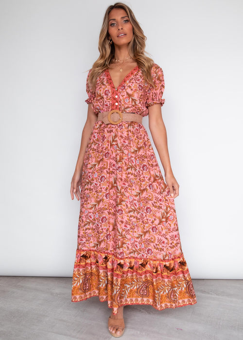 More Is More Maxi Dress - Peach Garden