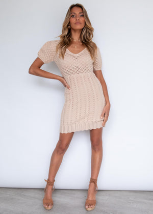 Lovely life Crochet Dress - Sand