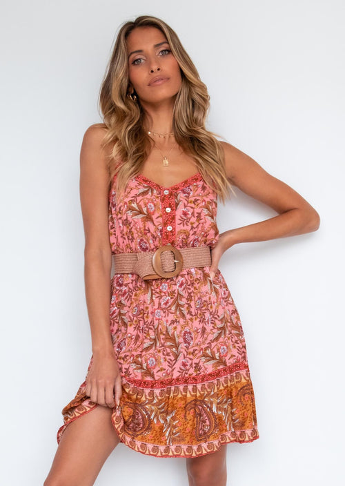 Bella Cami Dress - Peach Garden