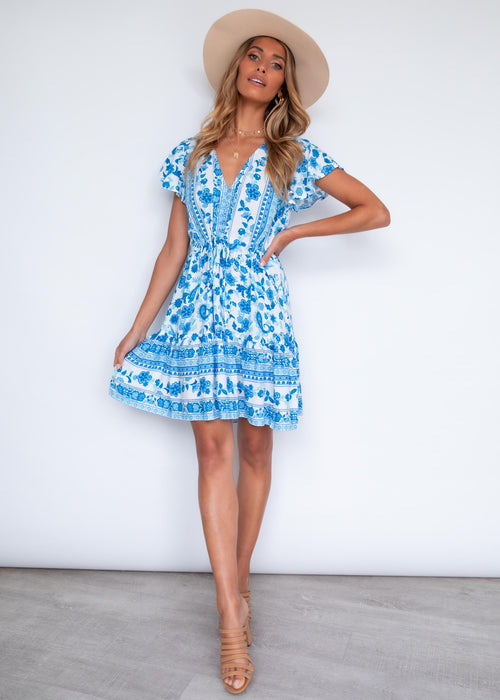 Zeela Dress - Azure Blue