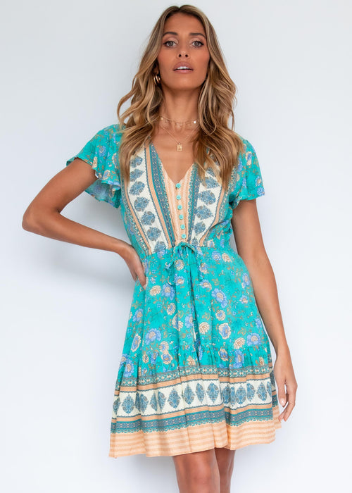 Zeela Dress - Turquoise Sand