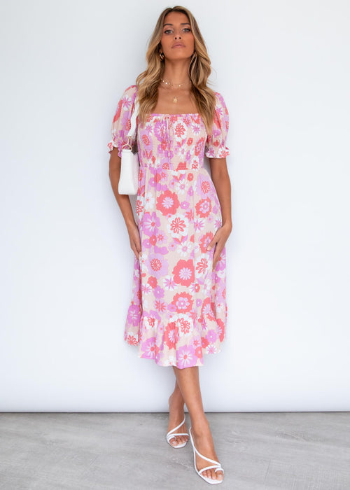 Little Towns Midi Dress - Retro Blush