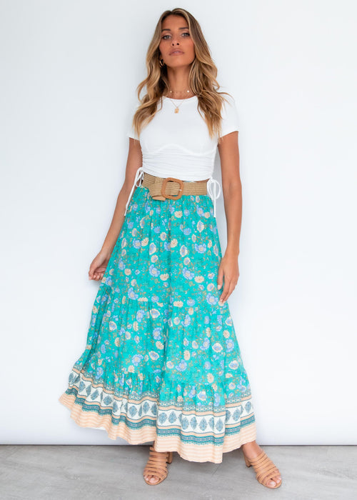 Your Song Maxi Skirt - Turquoise Sand