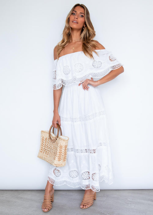 Roscoe Off Shoulder Maxi Dress - Off White