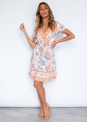 Between Times Dress - Sandstone Floral