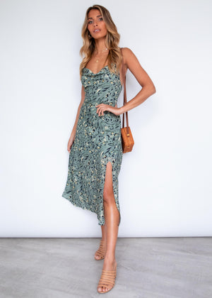 Amany Slip Midi Dress - Khaki Leopard