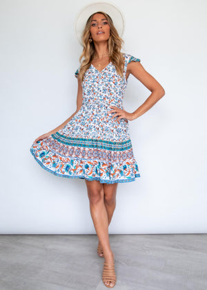 Hadlee Swing Dress - Blue Blooms