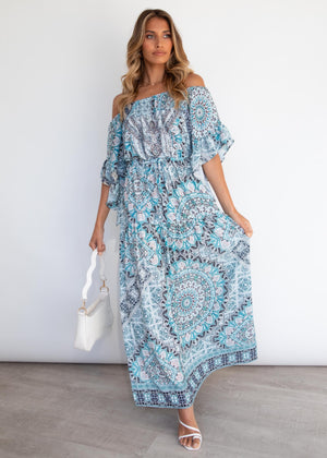 Ever Changing Off Shoulder Maxi Dress - Aqua Mosaic
