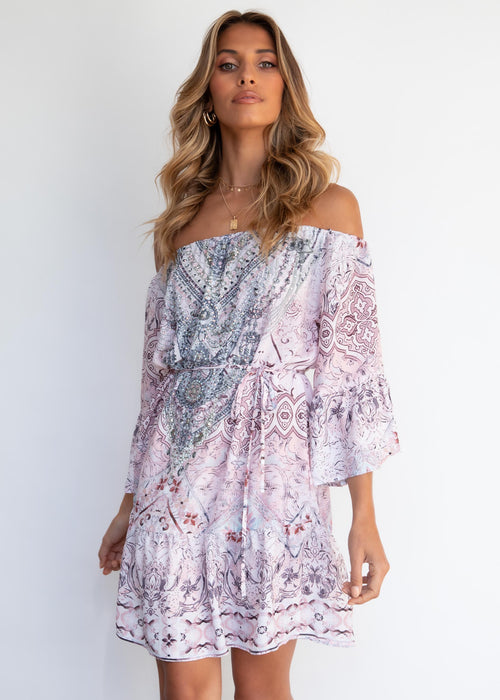 Regal Off Shoulder Dress - Blush Romance