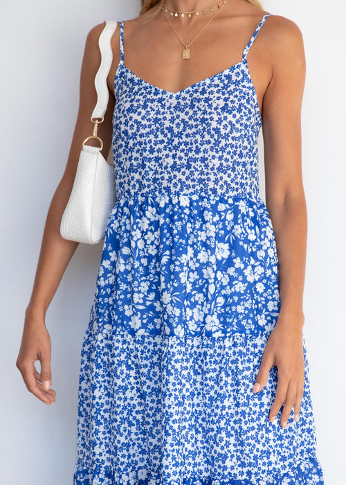 Jediah Midi Dress - Blue Floral
