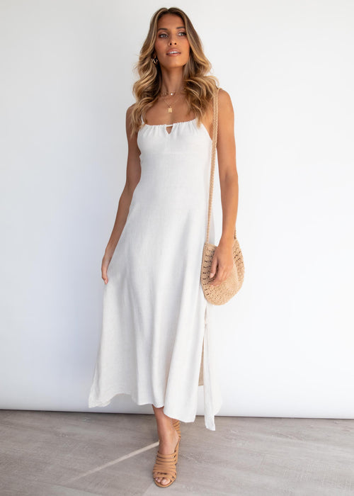 Hermosa Tie Midi Dress - Natural