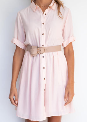 Aim High Shirt Dress - Blush