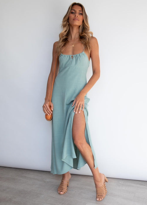 Hermosa Tie Midi Dress - Sage