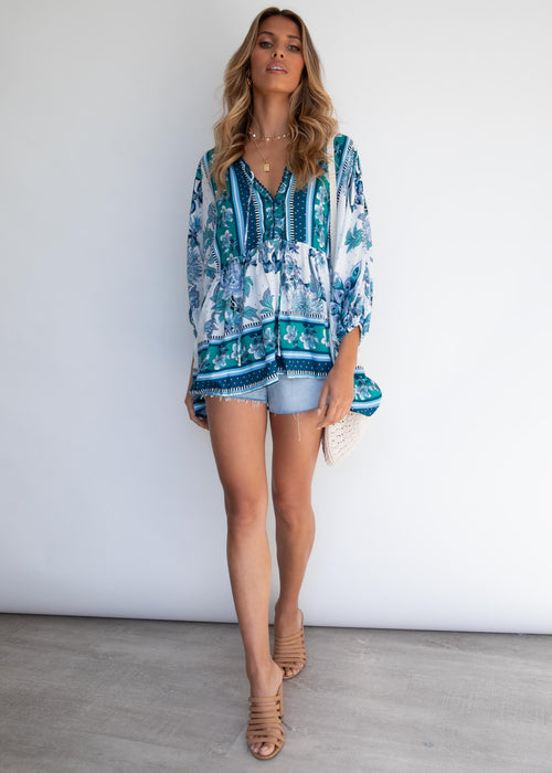 Chloe Blouse - Blue Bird
