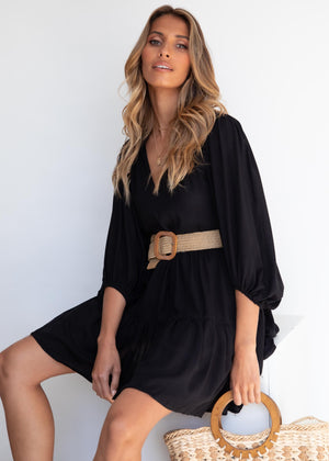 Rowen Smock Dress - Black