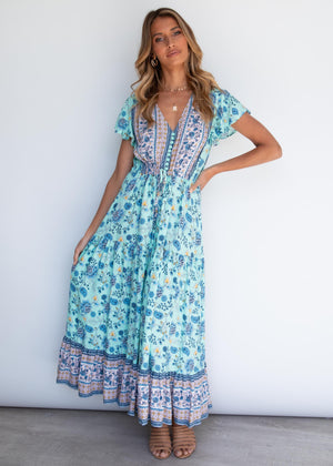 Sunny Again Maxi Dress - Mint Floral