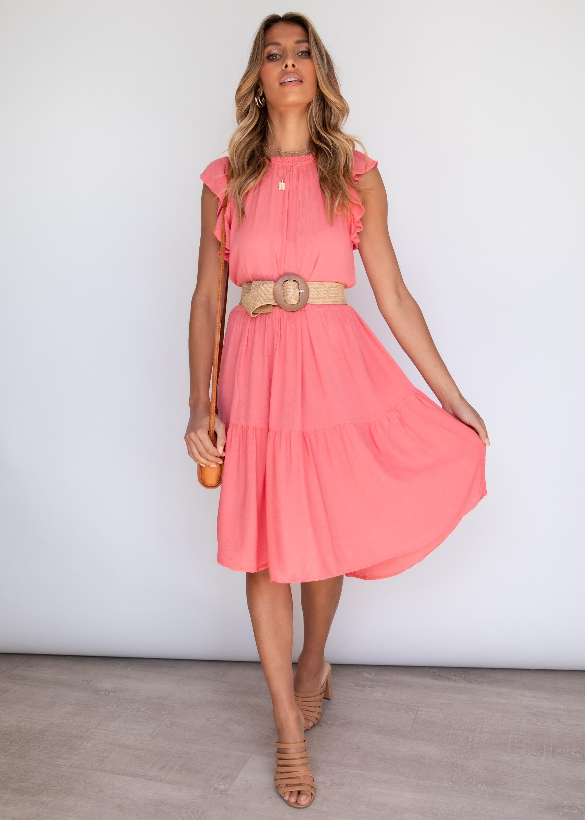 Caylee Midi Dress - Coral
