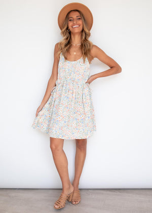 Nixi Swing Dress - Blue Floral