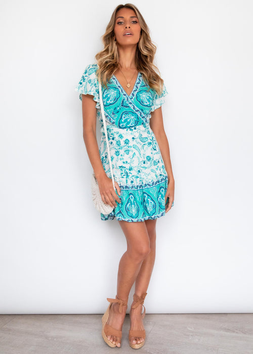 Paxton Wrap Dress - Aqua Breeze