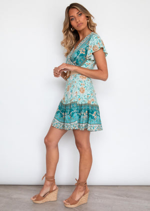 Paxton Wrap Dress - Emerald Floral