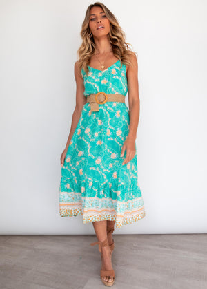 Nakula Midi Dress - Turquoise Summer