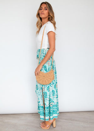 Caitlin Maxi Skirt - Teal Skies
