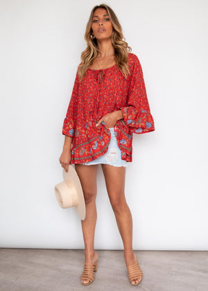 Accompany Blouse - Red Floral