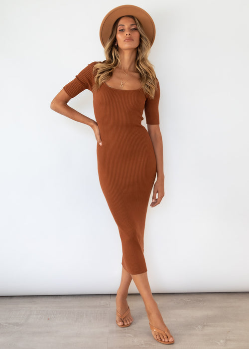 Meiers Knit Midi Dress - Chocolate