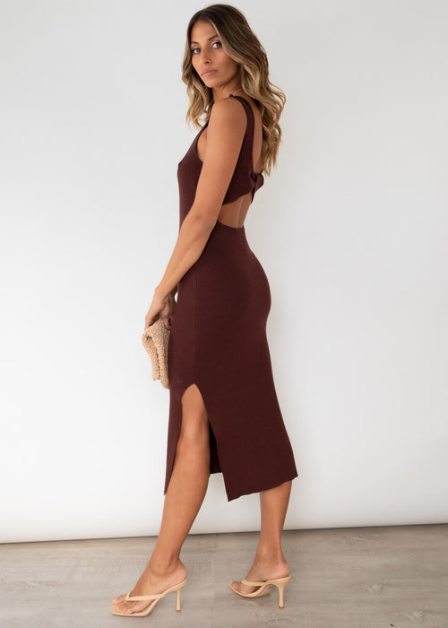 Aspley Knit Midi Dress - Chocolate