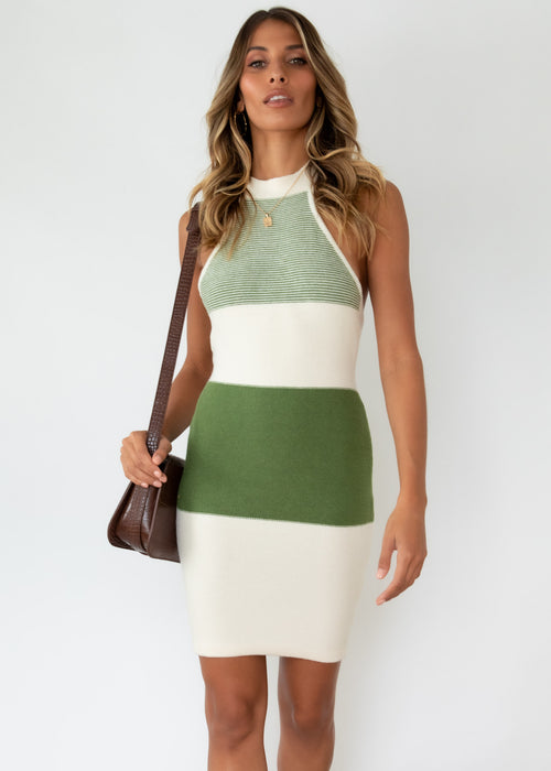 Beckett Halter Knit Dress - Khaki Stripe
