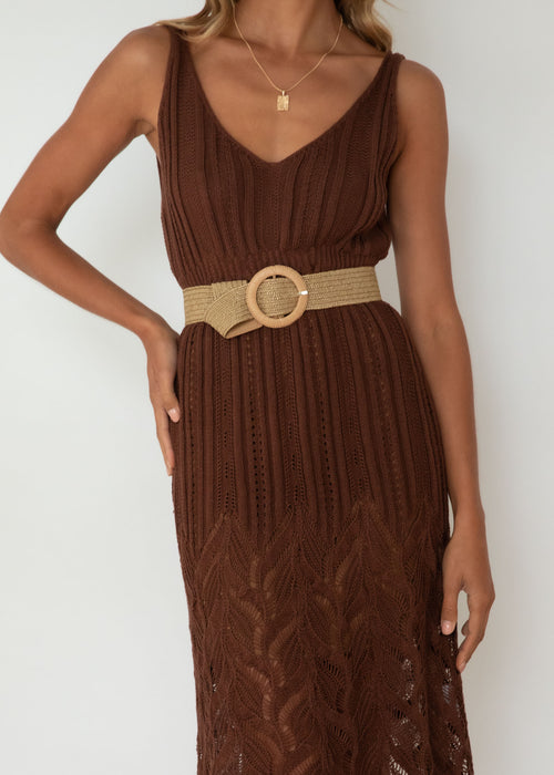 Granita Knit Midi Dress - Chocolate
