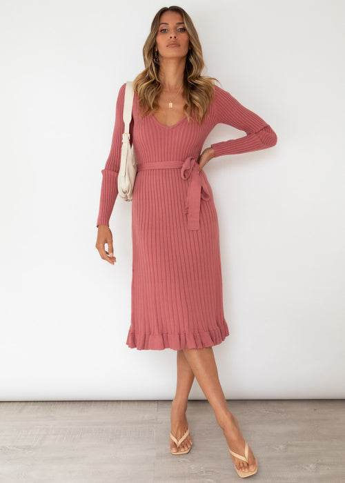 Harlan Knit Midi Dress - Rose